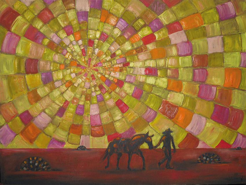 Plains, 70 x 52 cm, Öl auf Hartfaserplatte