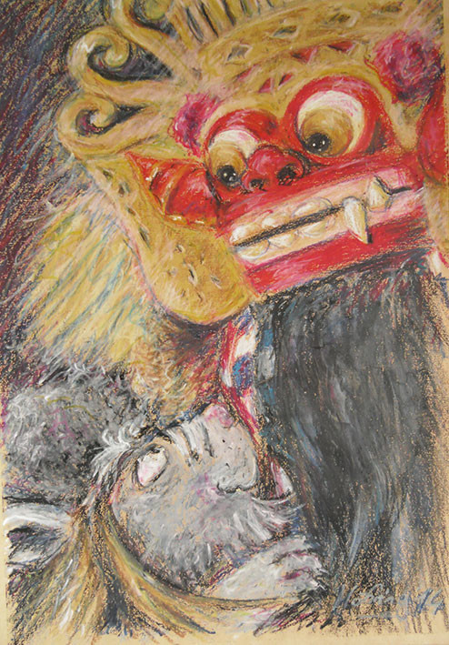 Barong mit Affe, Pastell, 35 x 50 cm