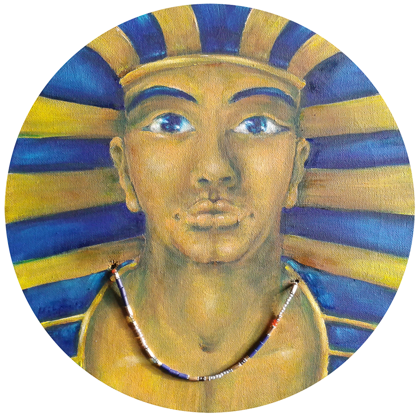 Ra, ⦰ 30 cm, Öl und Halskette auf Holz