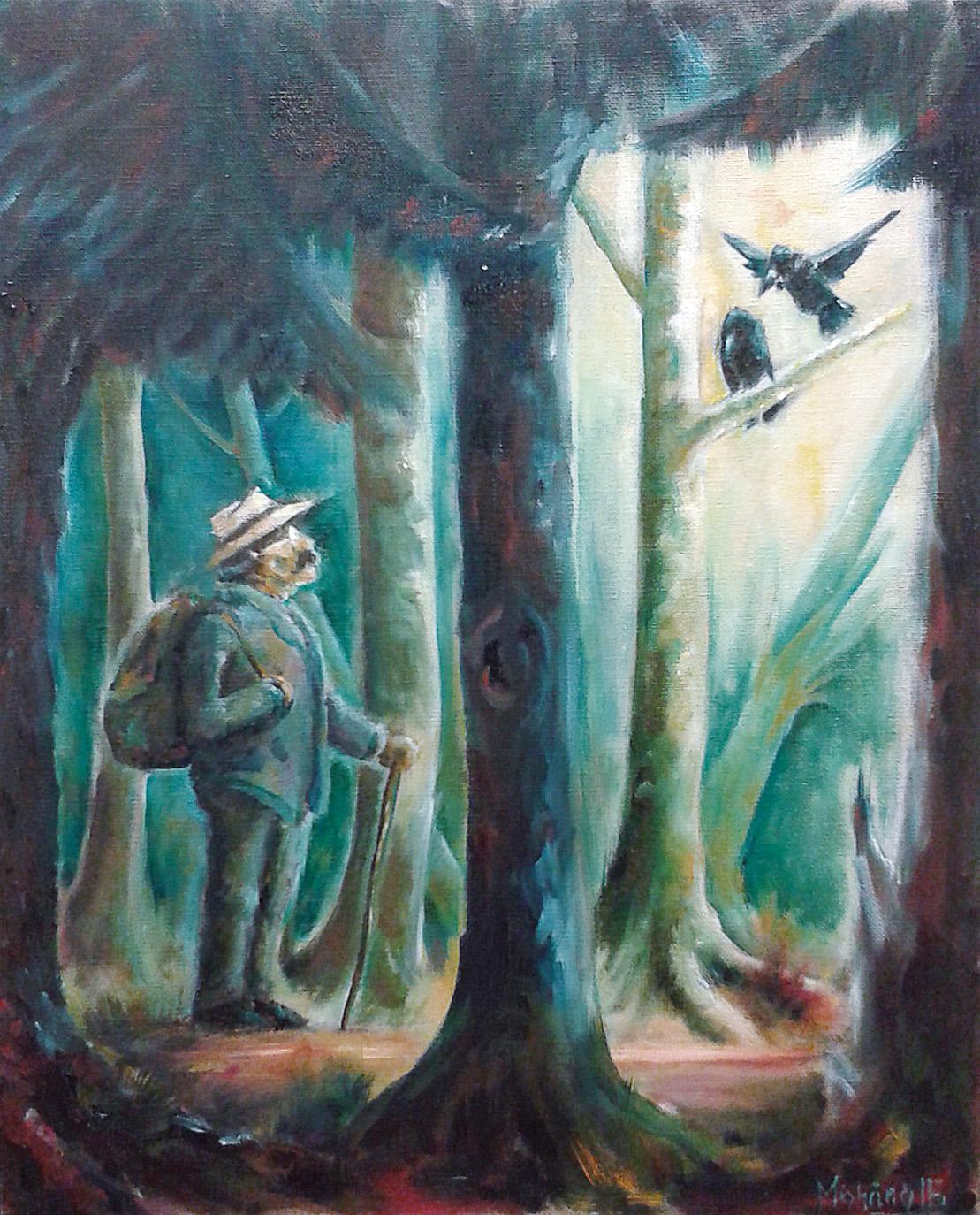 Mark Twain und die Raben, 40 x 50 cm, Öl auf Leinwand