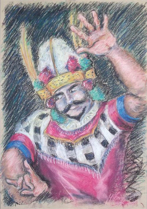 Balinesischer Tänzer, Ölpastell, 35 x 50 cm