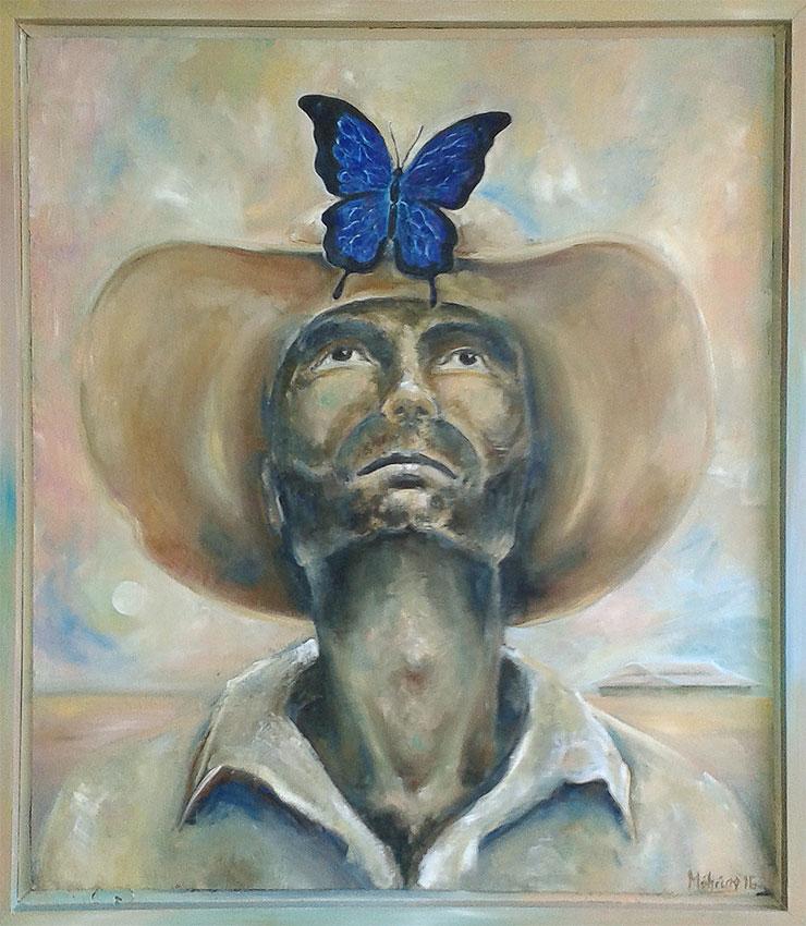 Ulysses Butterfly, 65 x 77 cm, Öl auf Holz