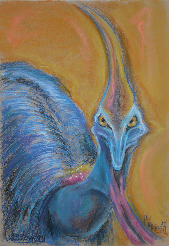 Kasuar I, Pastell, 35 x 50 cm