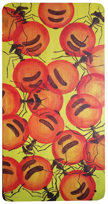 Honey Ants, 34 x 70 cm, Acryl auf Holz