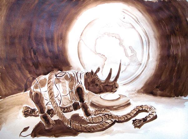 EinHorn auf Reisen, 70 x 50 cm, Moorlauge auf Papier, in Privatbesitz