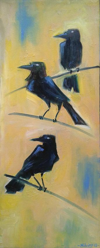Stone the Crows, 20 x 50 cm, Öl auf Leinwand, in Privatbesitz