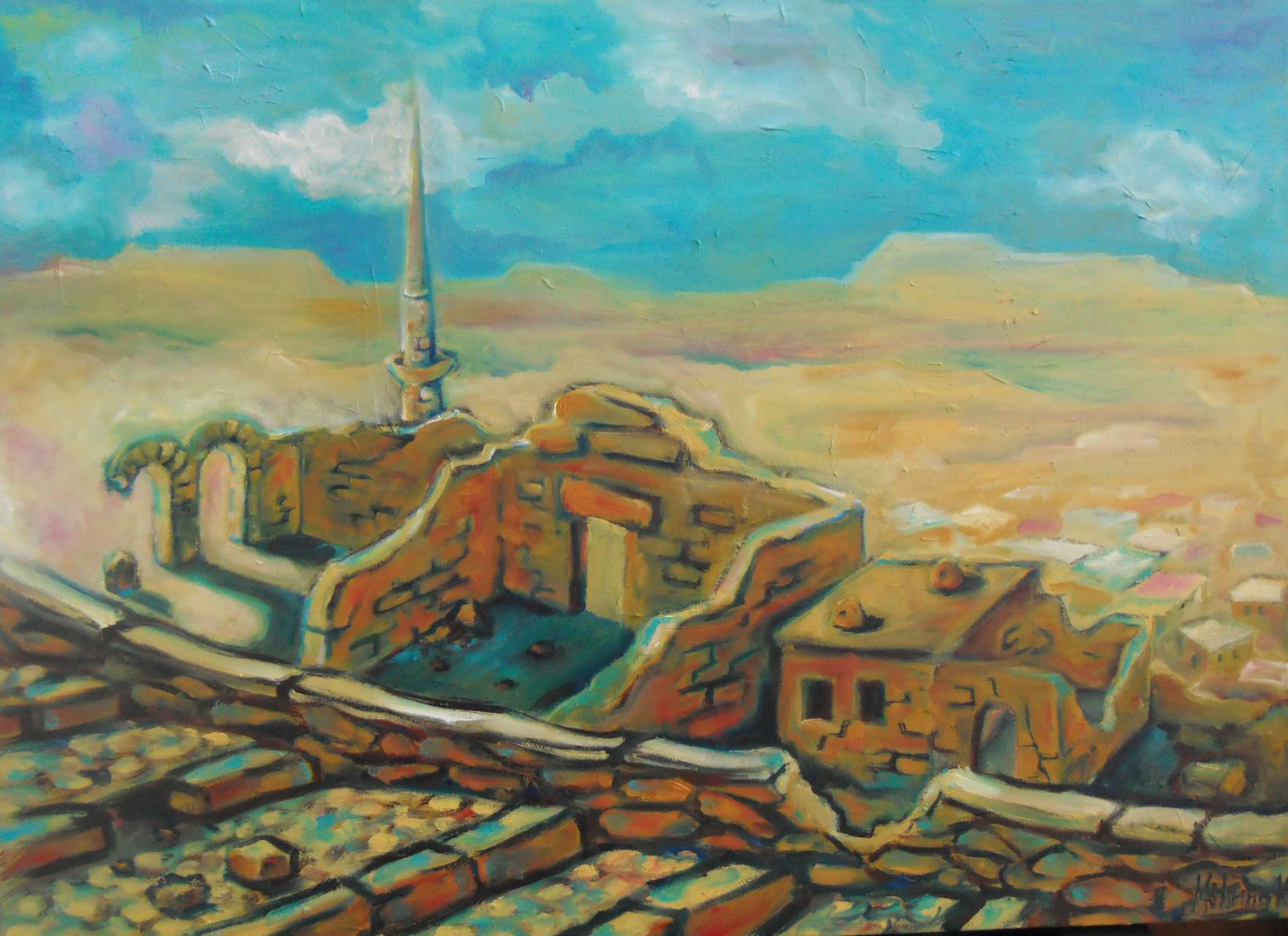 Landschaft in Kappadokien, Öl auf Leinwand,