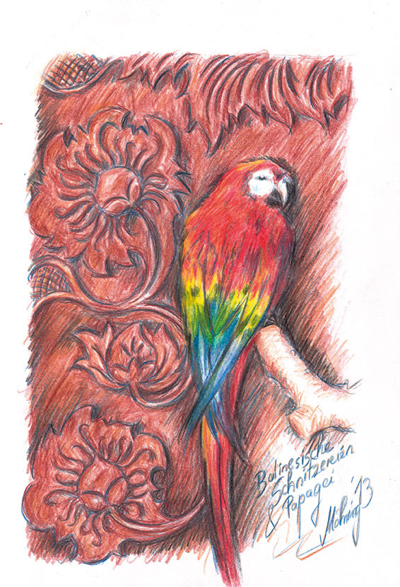Papagei mit Holzschnitzerei, Farbstift