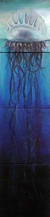 Portugiesische Galeere, 4 x 30 x 30 cm, Öl auf Leinwand
