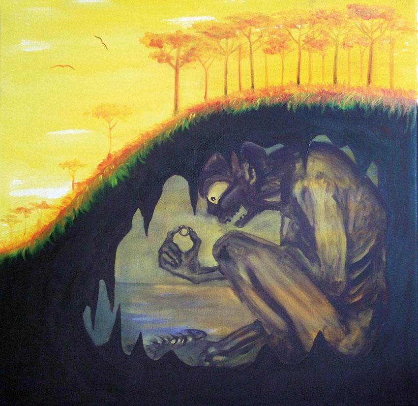 In the Gloom of Gollum´s Cave 50 x 50 cm, Acryl auf Leinwand