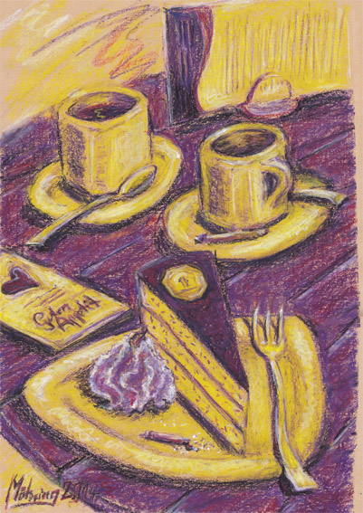 Kaffeetisch, 35 x 50 cm, Ölpastell auf Papier