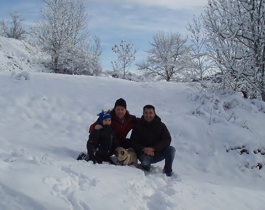 Michel, Karine, Théo et Quero, sous un soleil enneigé, le 02 février.
