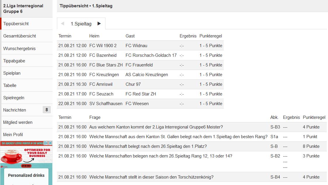 Tippspiel FC Widnau Saison 2021/2022 – 2 Liga interregional