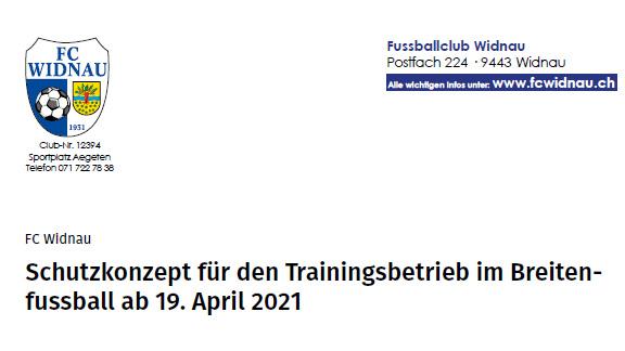 Schutzkonzept für den Trainings- im Breitenfussball ab 19.04.2021