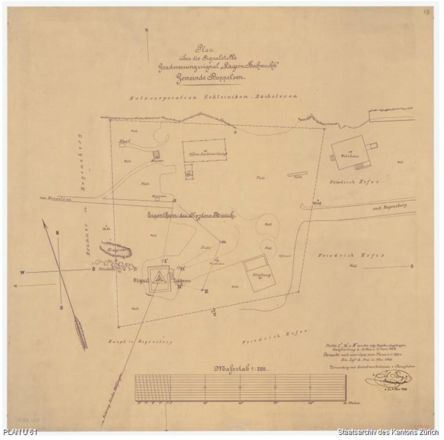 Lägern Hochwacht::Plan U61 von 1896::Staatsarchiv Zürich