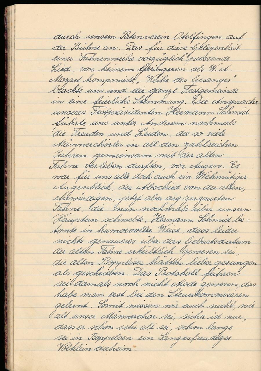 Festprotokoll Seite 4 von 10 / Ansprache von Hermann Schmid (Festpräsident) / Alter des Männerchors unbekannt