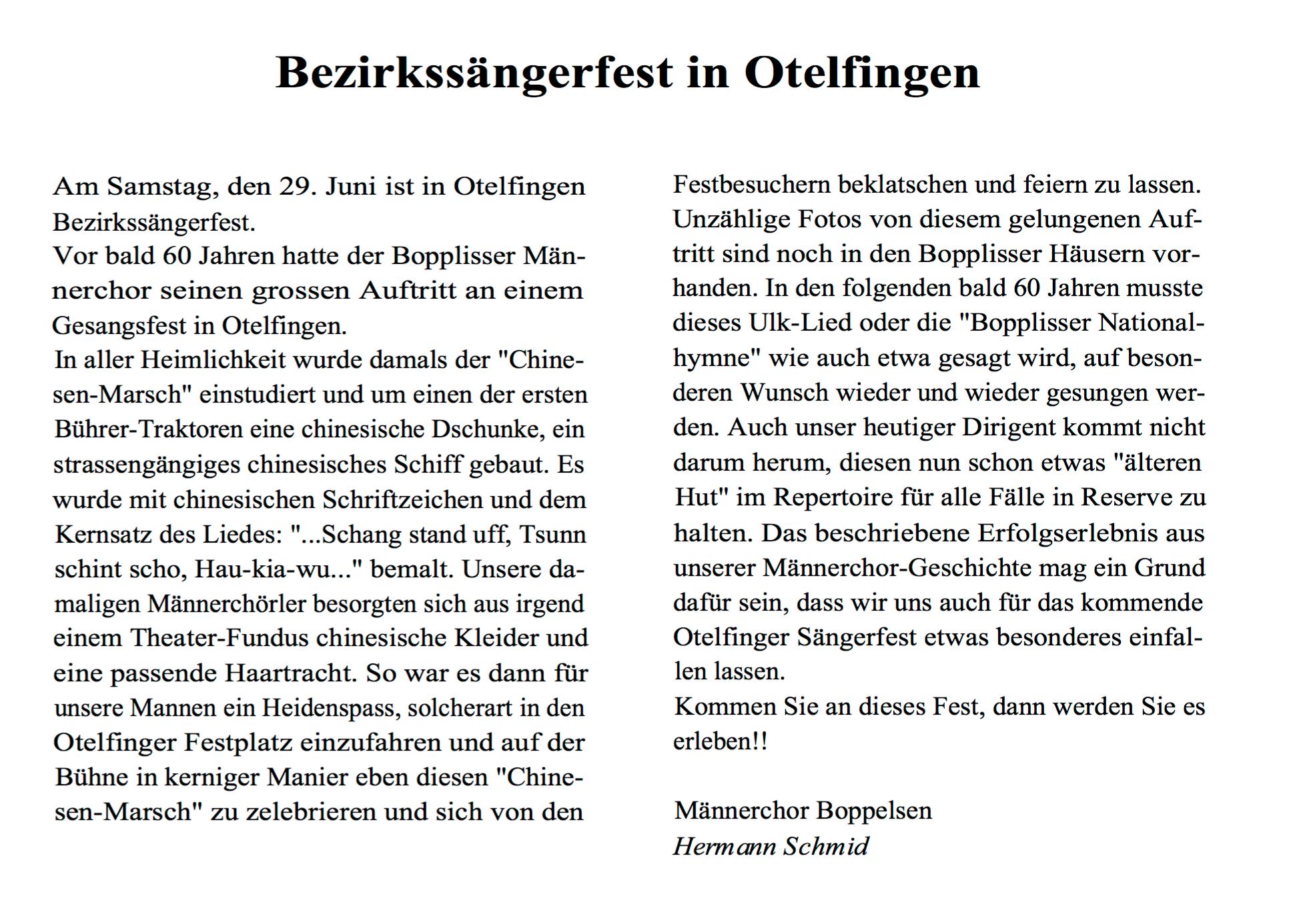 Bericht von Hermann Schmid in der BOZY 3/96 zum Bezirkssängerfest 1938::BOZY 3/96