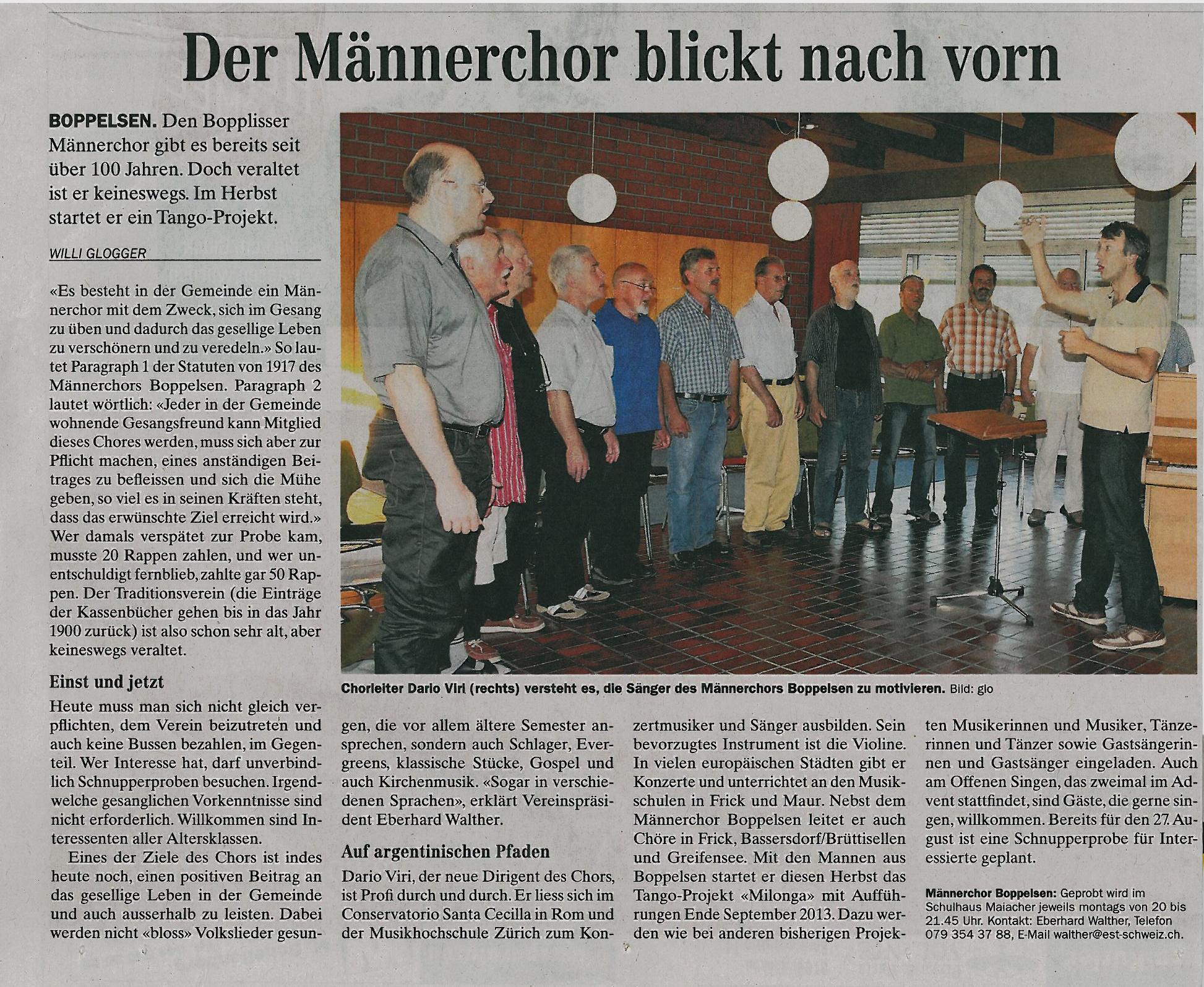 Furttaler 3.8.2012::Ankündigung Tango-Projekt