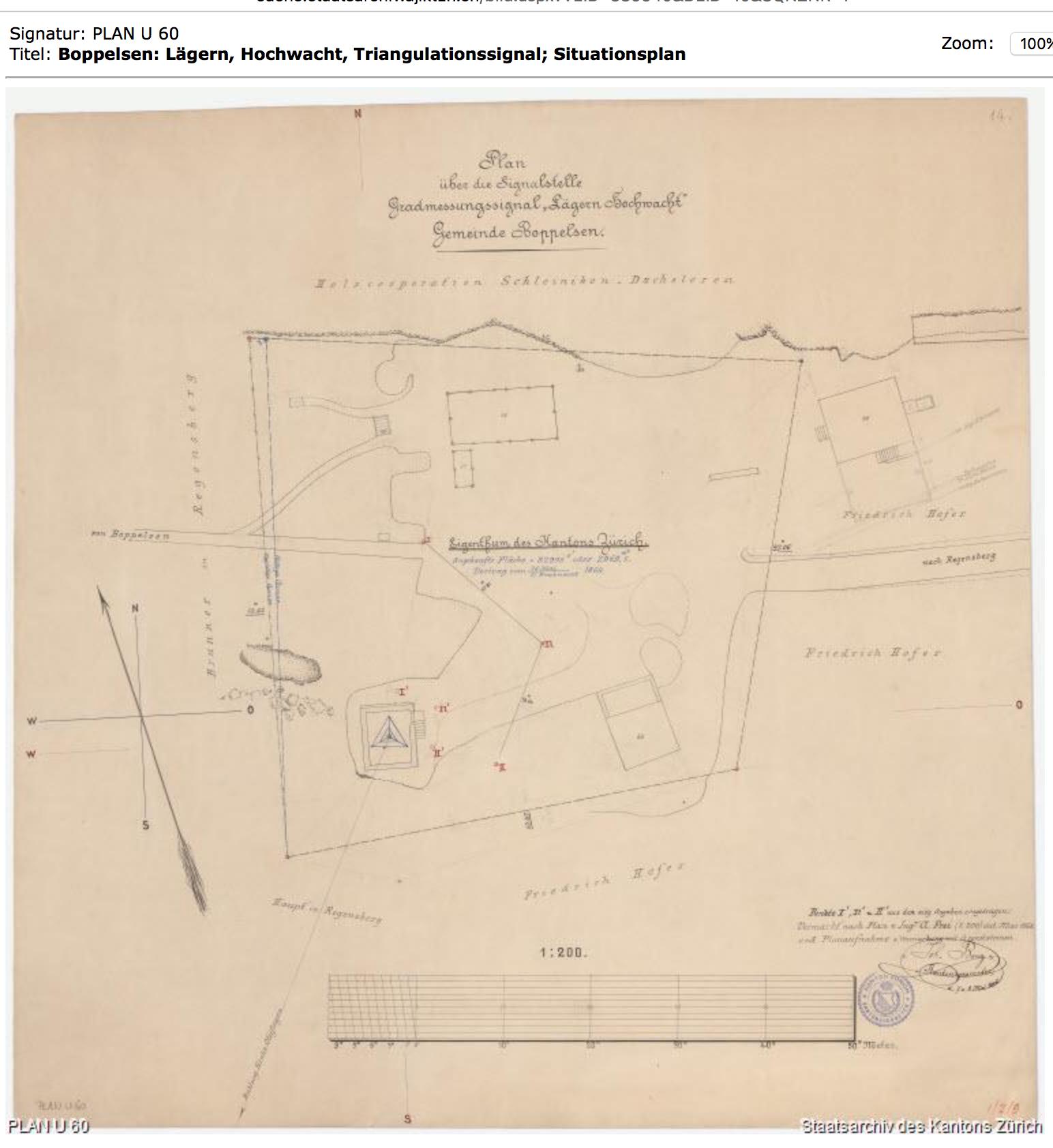Situationsplan der Hochwacht von 1896 / Staatsarchiv Kt. Zürich