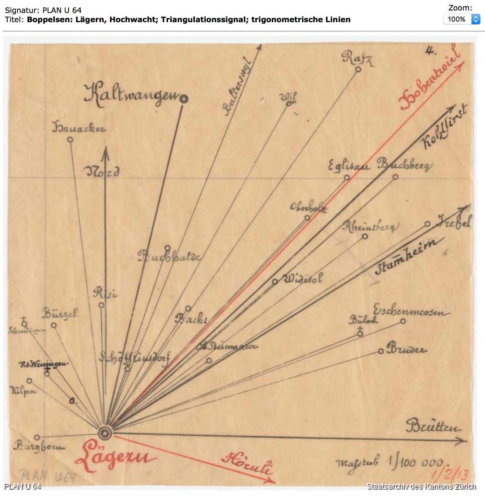 Lägern Hochwacht::Plan U64 von ca. 1868::Staatsarchiv Zürich