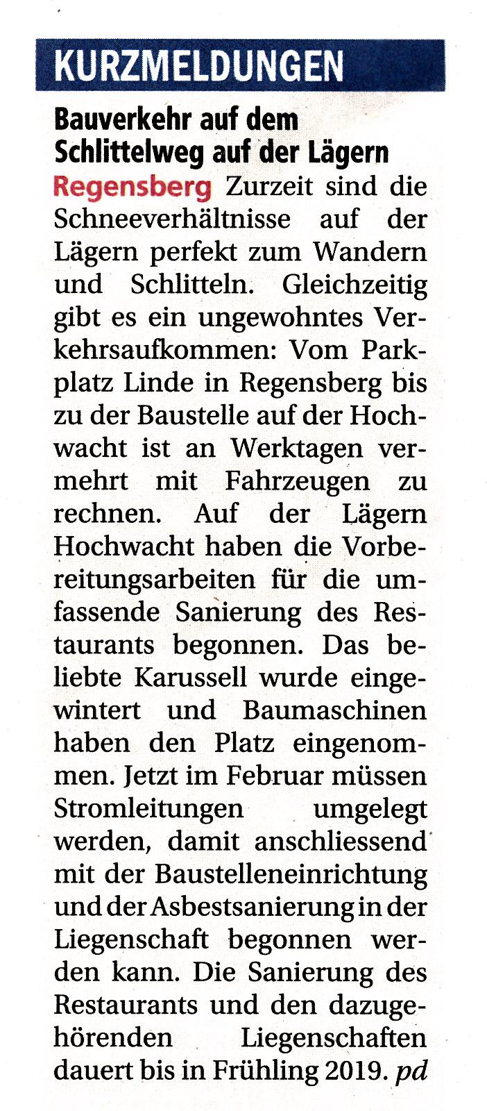 21.2.2018::Achtung Bauverkehr::Unterland Zeitung