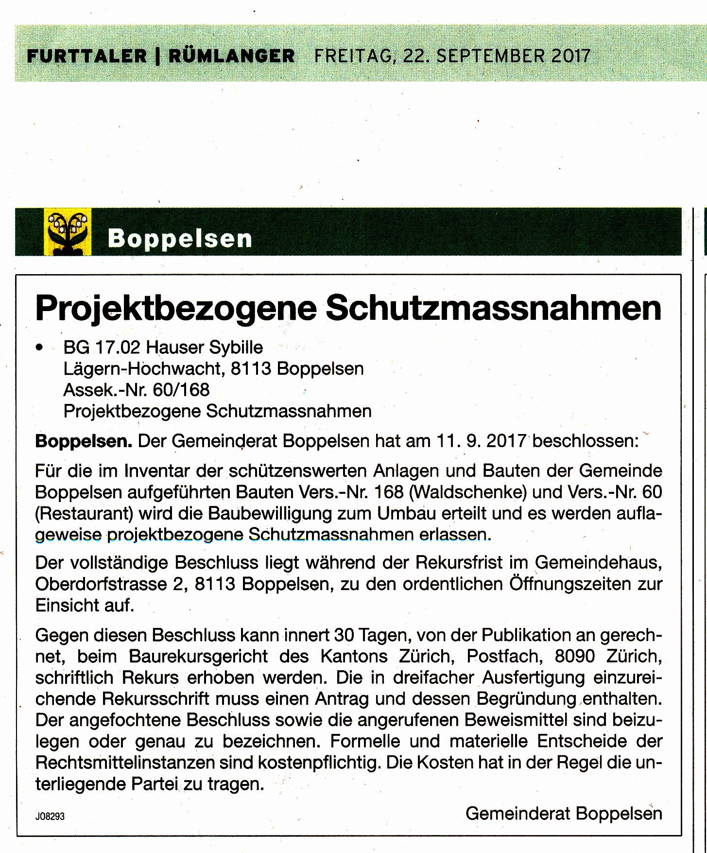 Baubewilligung::22.9.2017 Furttaler