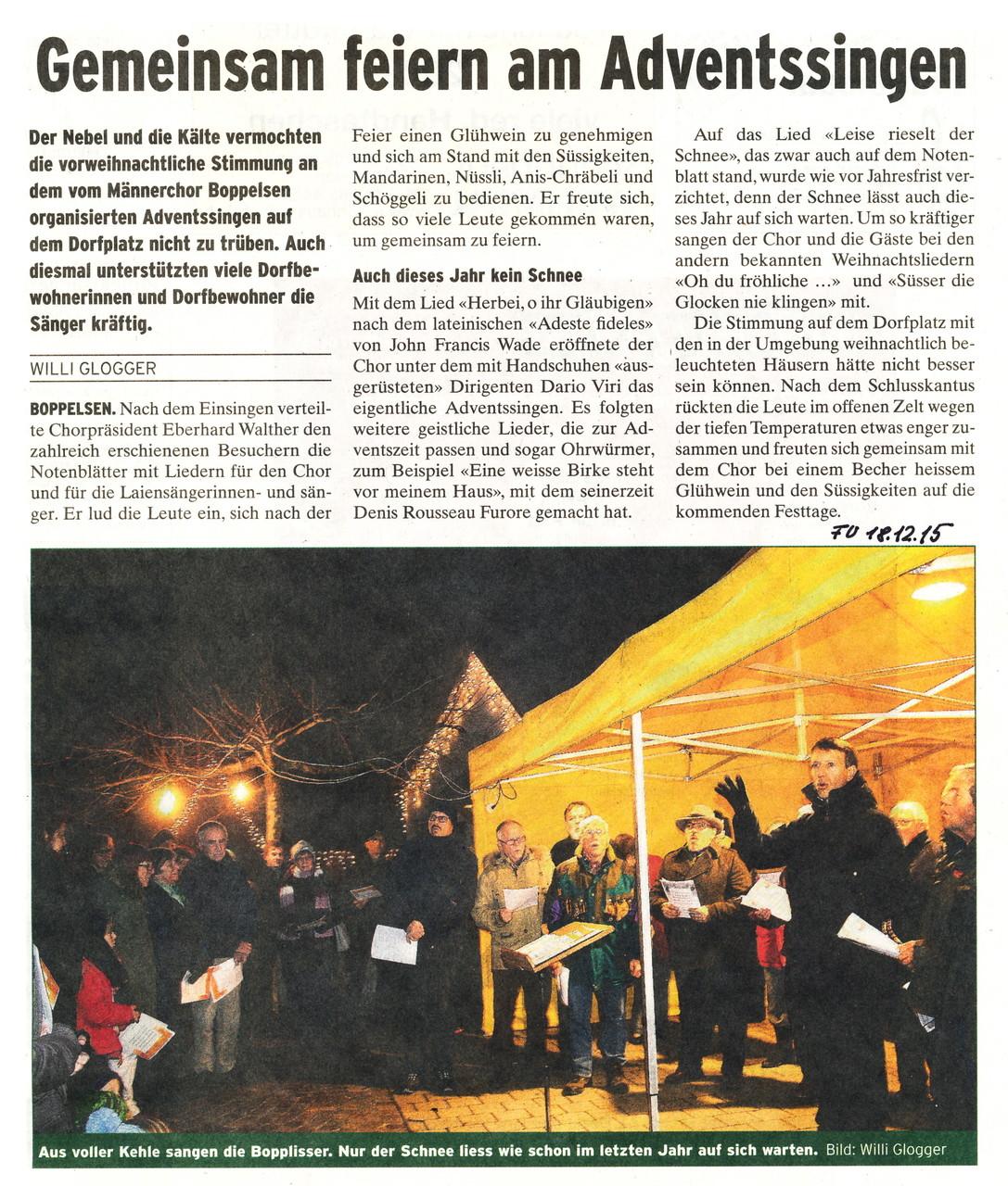 Furttaler 18.12.2015::Adventssingen Boppelsen