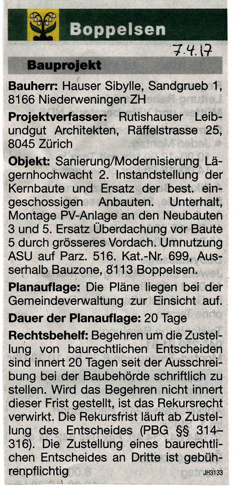 7.4.2017::Baugesuch