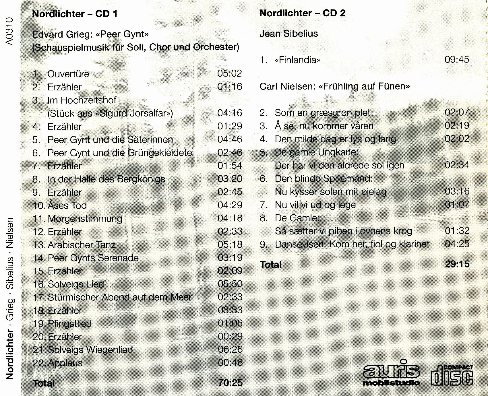 CD Musiktitel und Laufzeiten