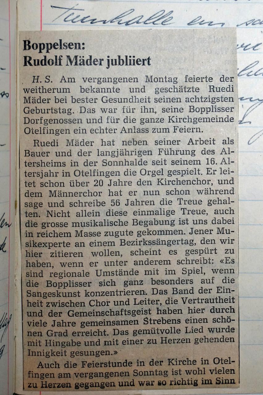2.2.1976 :: Ruedi Mäder wird 80 Jahre alt /Mitglied des MCB seit 64 Jahren, davon 57 Jahre als Dirigent!