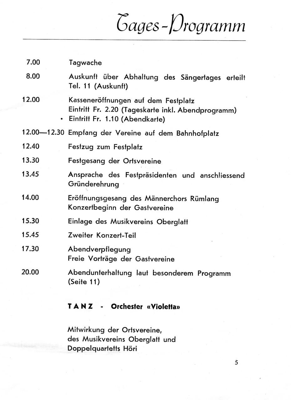 Jubiläums-Sängerfest Rümlang 1947