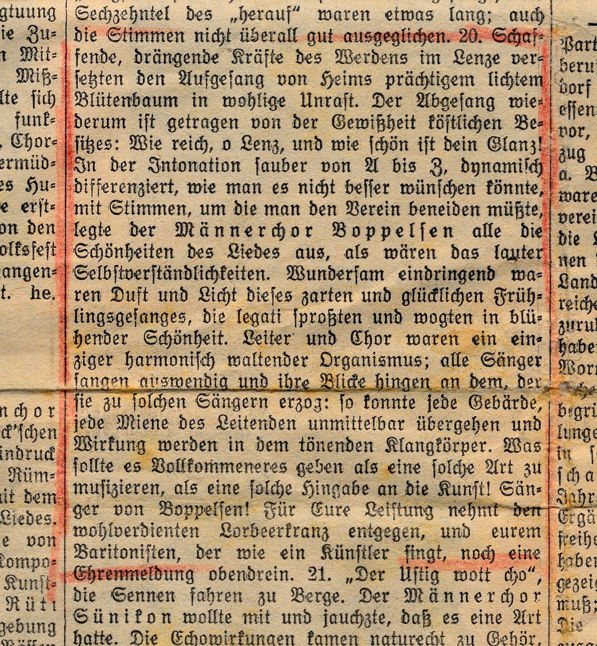 Fantastische Beurteilung in der Zeitung! Jubiläums-Sängerfest Rümlang 1947