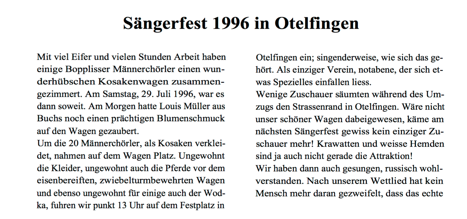 Bericht von Fredy Mäder zum Bezirkssängerfest 1996 in Otelfingenvon::BOZY 3/96