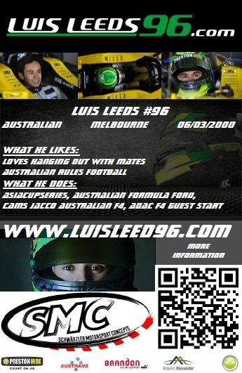 Autogrammkarte Luis Leeds Hockenheim 2015