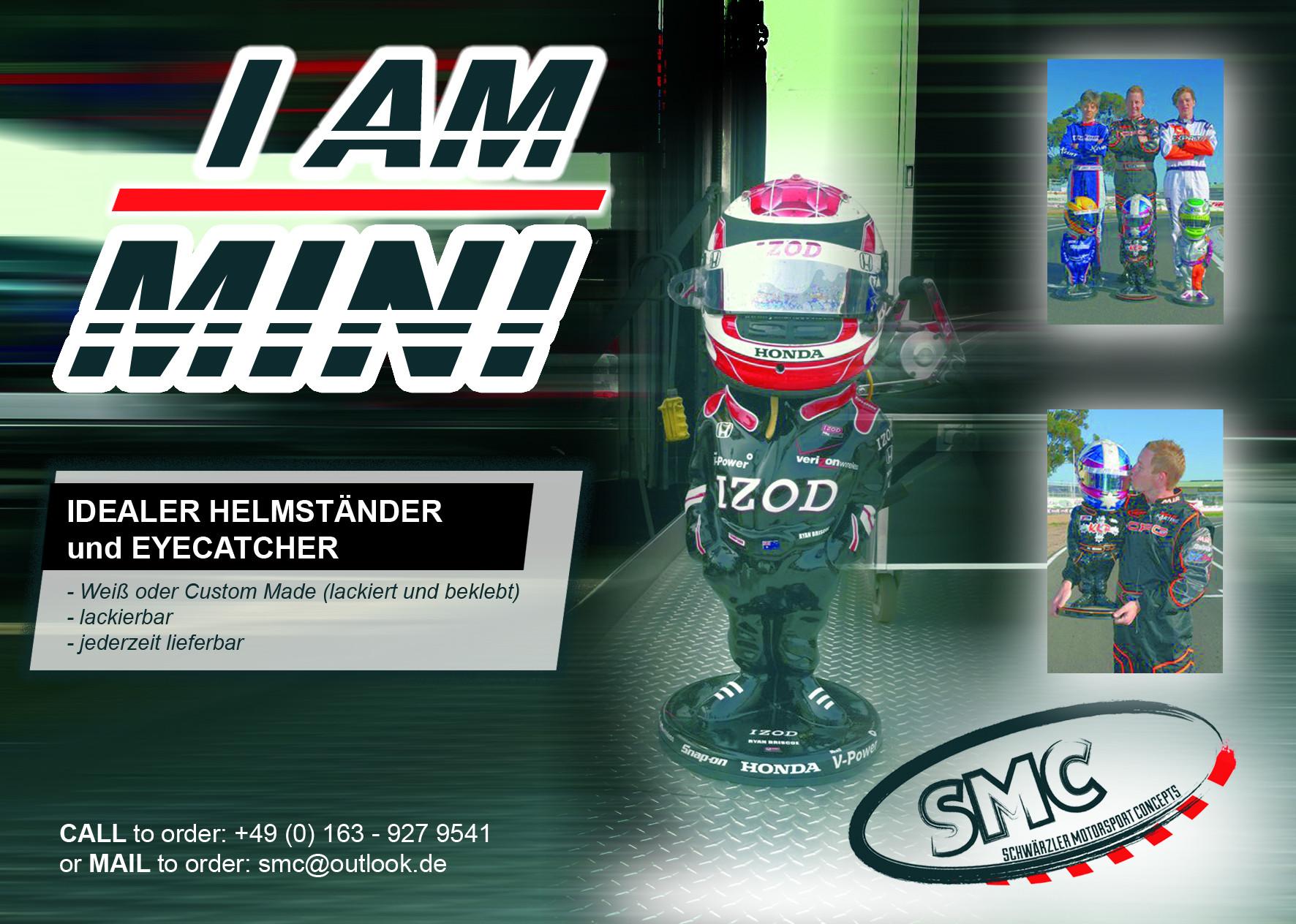 """Promotionflyer für den """"I am Mini"""" Helmständer von SMC"""