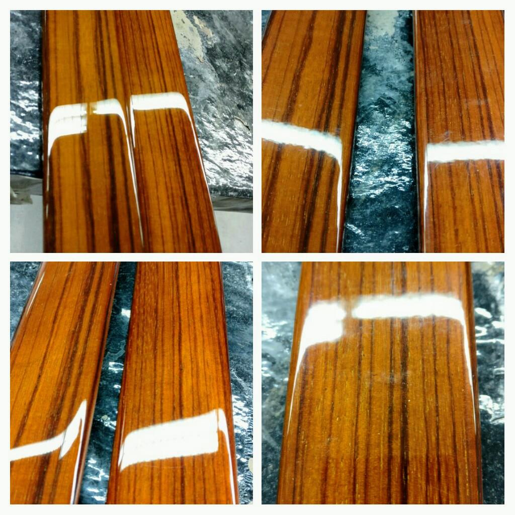Vorher-Nachher Aufarbeitung Zebrano Edelholzleisten W124
