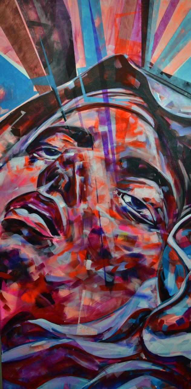 """""""St Teresa ecstasy"""" Acrylic on canvas 121 x 61 cm"""