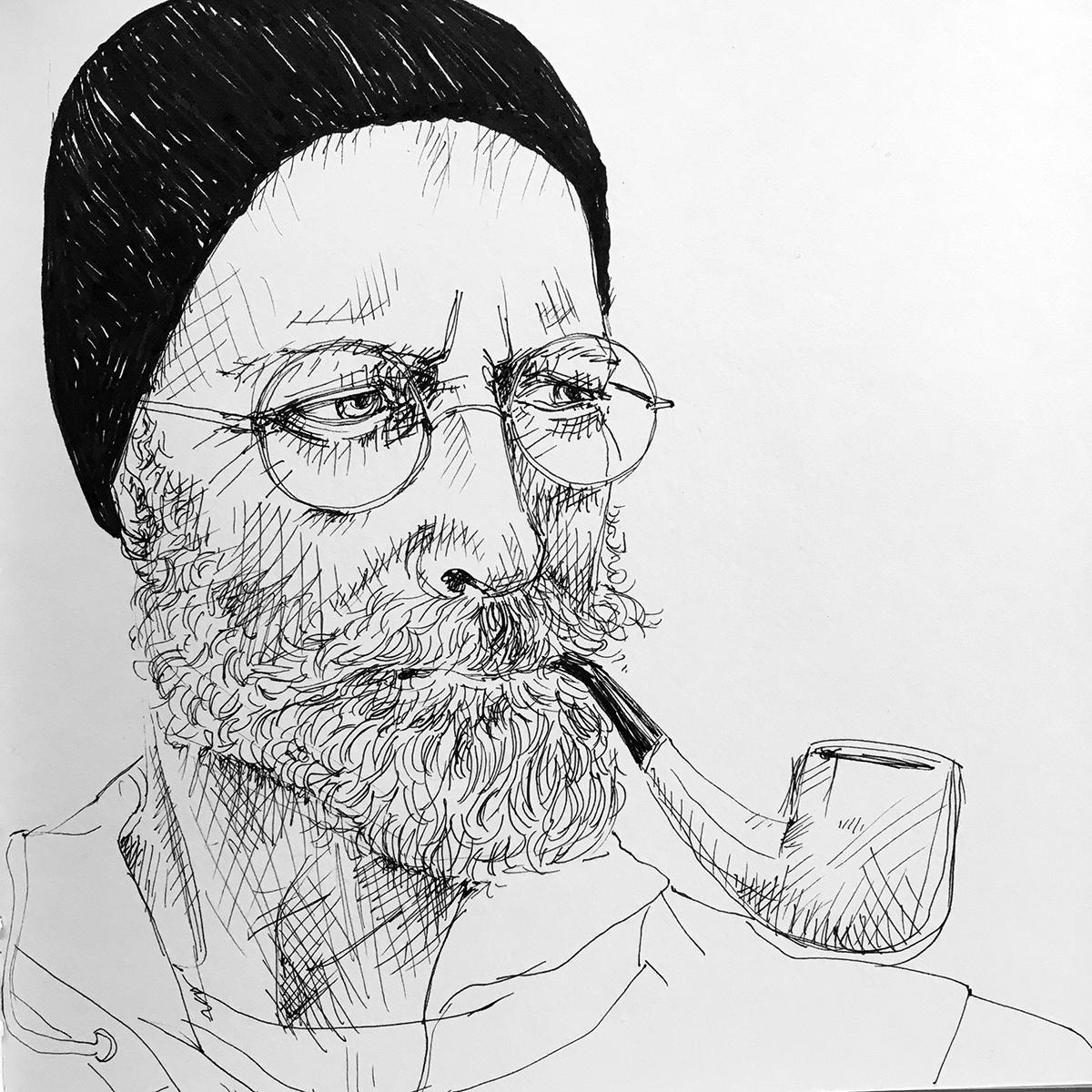Porträt von Mann mit Bart und Pfeife mit Fineliner Zeichnung. Marina Schilling.
