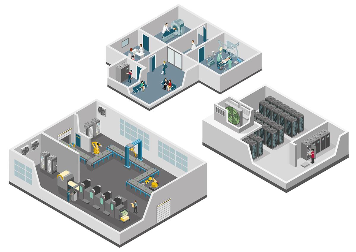 Illustration Isometric Interior Innenräume einer Fabrik, eines Datencenters und eines Krankenhauses mit Einrichtung und Mitarbeitern. Marina Schilling.