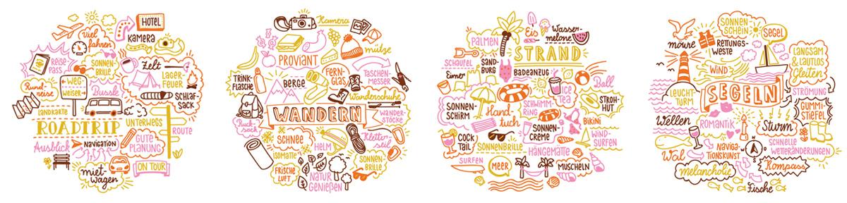 Vier Doodle Illustrationen zum Thema Urlaub. Marina Schilling.