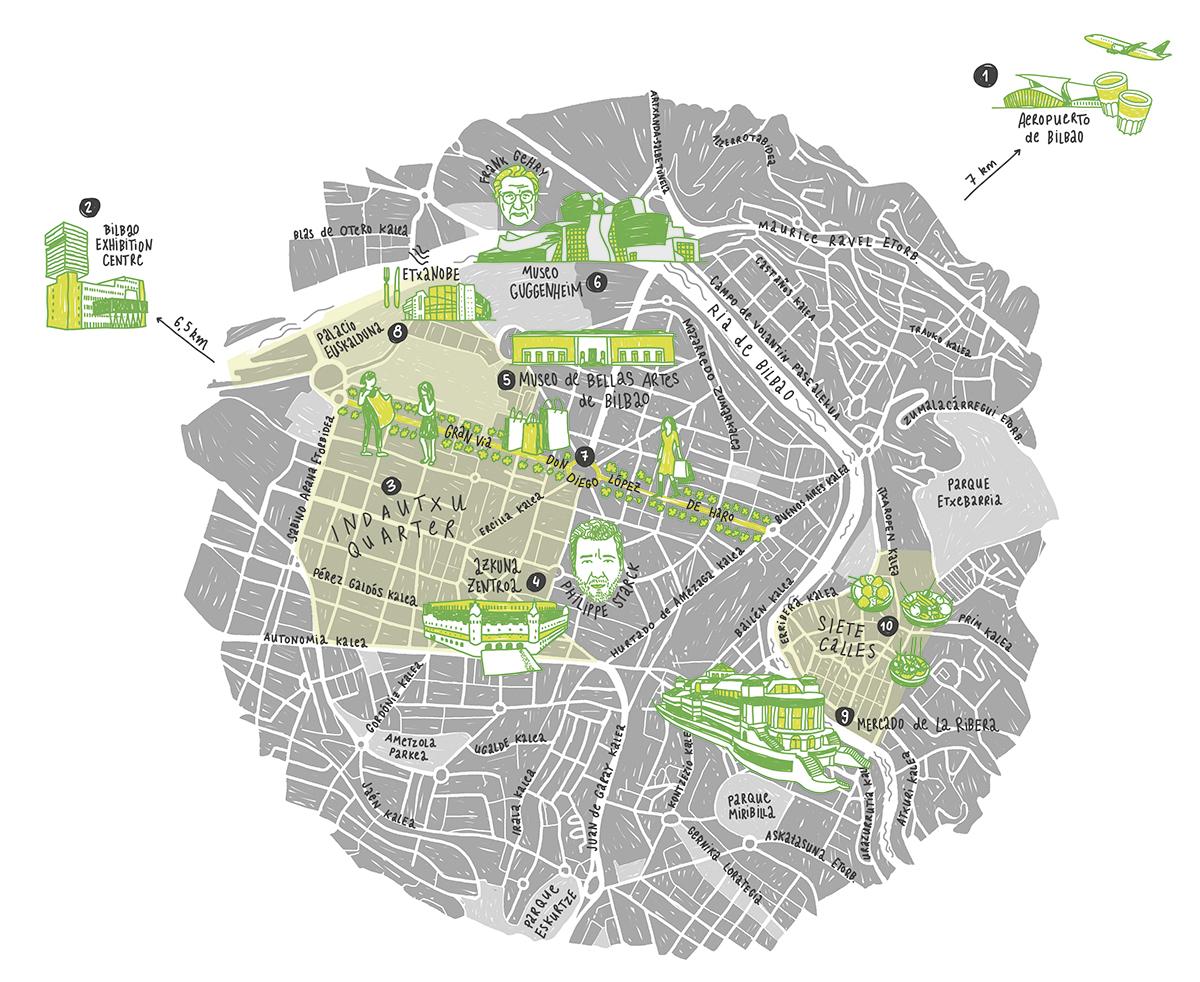 Handgezeichnete illustrierte City Map von Bilbao mit Gebäuden und Persönlichkeiten. Marina Schillin.g