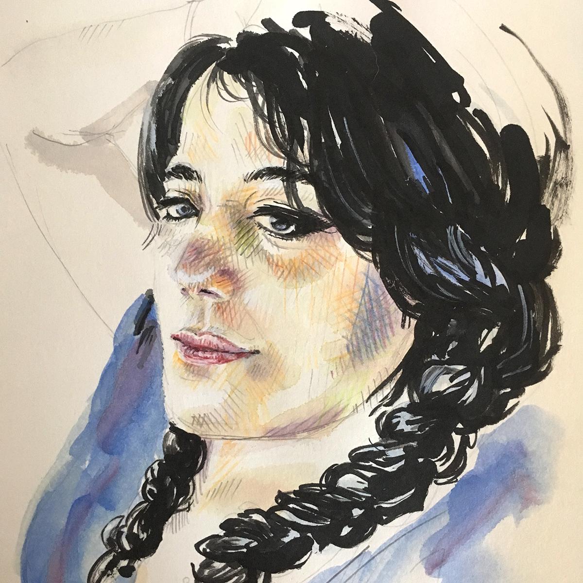 Porträt einer Frau mit Fineliner, Tusche und Buntstiften gezeichnet im Skizzenbuch. Marina Schilling.