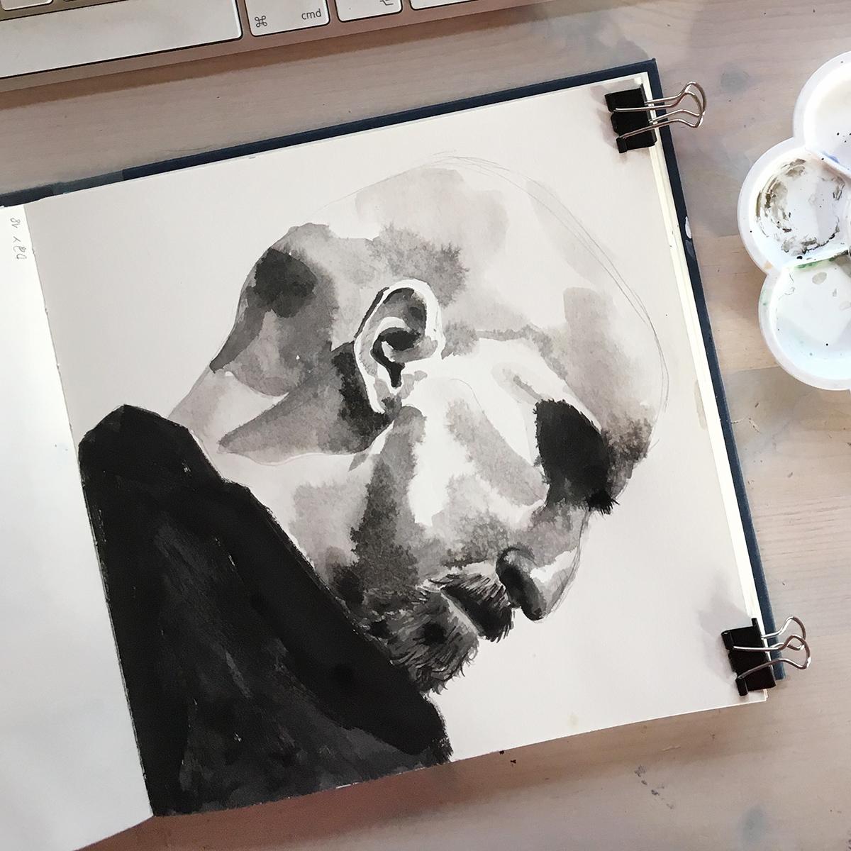 Zeichnung Porträt in Tusche in Skizzenbuch. Marina Schilling.