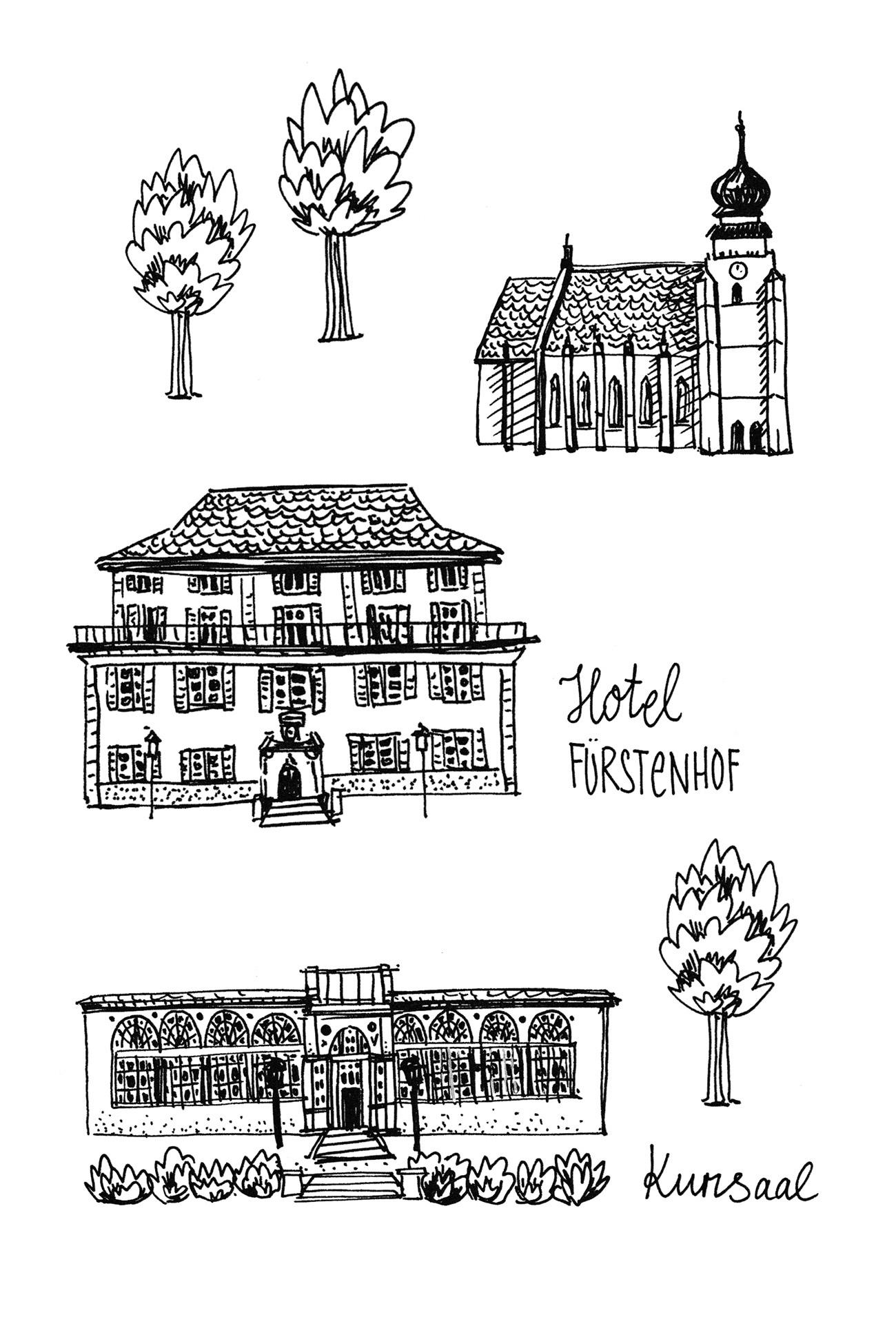 Einzelen handgezeichnete Illustrationen von Gebäuden und Natur für illustrierte Karte. Marina Schilling.