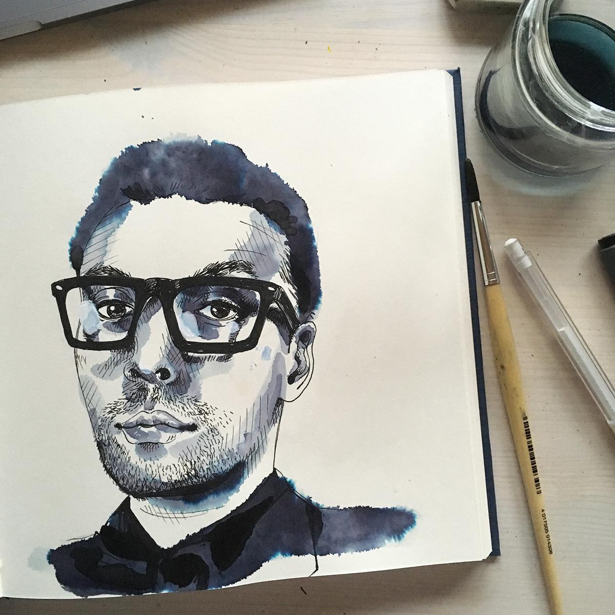 Porträt in Skizzenbuch mit Tusche und Pinsel von Hand gezeichnet. Marina Schilling.
