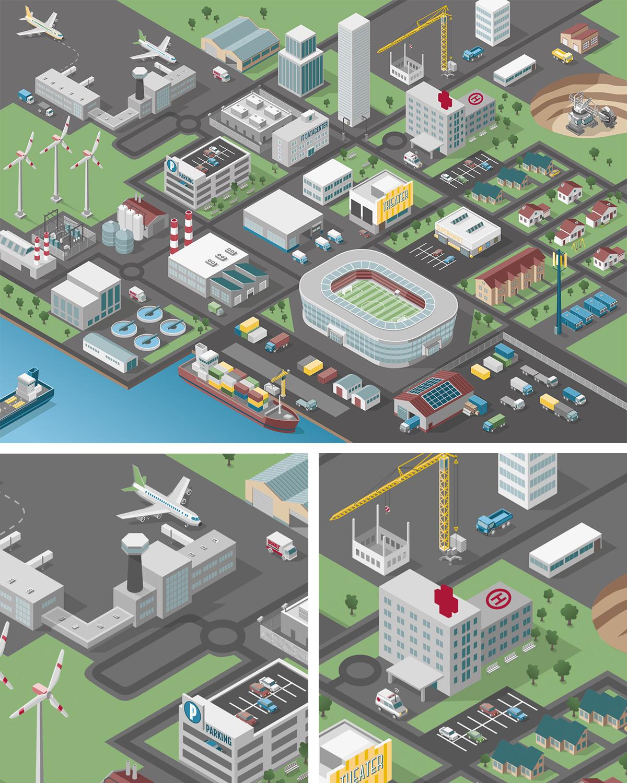 Illustration Isometric Map einer Stadt mit Gebäuden, Flughafen, Stadion, Baustellen, Industrie und einem Hafen. Marina Schilling