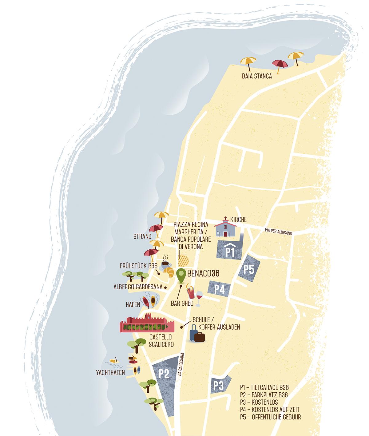 Illustrierter Lageplan eines Hotels am Gardasee. Marina Schilling.