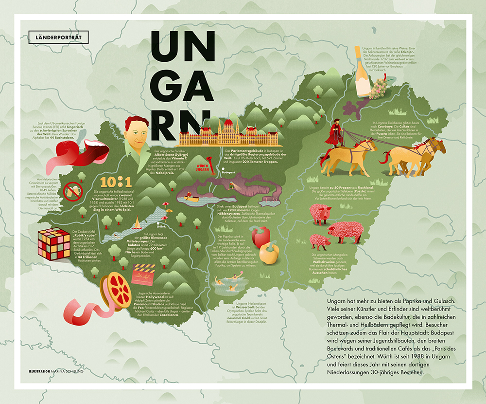 Illustrated Map of Hungary in the magazine layout. Marina Schilling