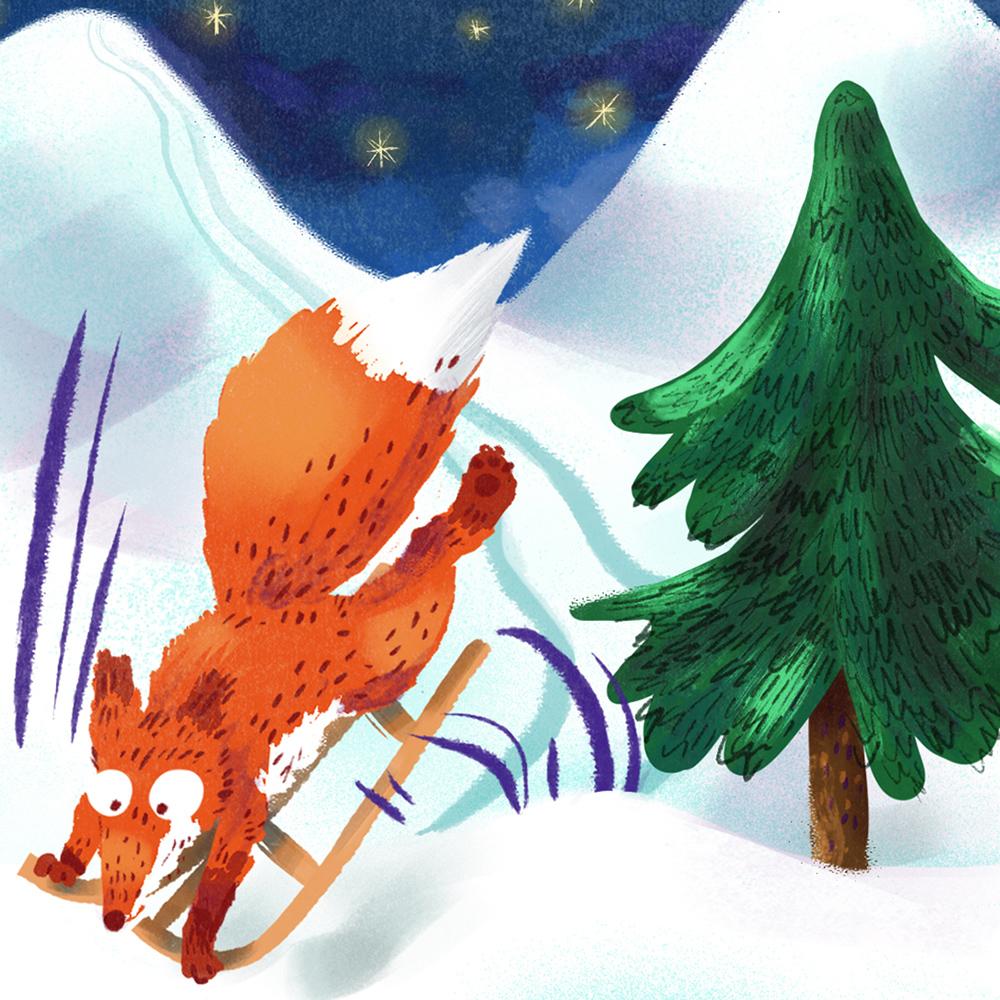 Illustraiton Fuchs fährt rasant Schlitten im Winter bei Schnee Kinderillustration. Marina Schilling.