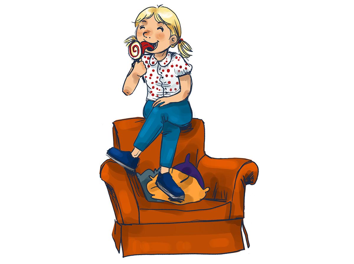Illustration für Kinder, Skizze Mädchen auf Sessel. Marina Schilling.